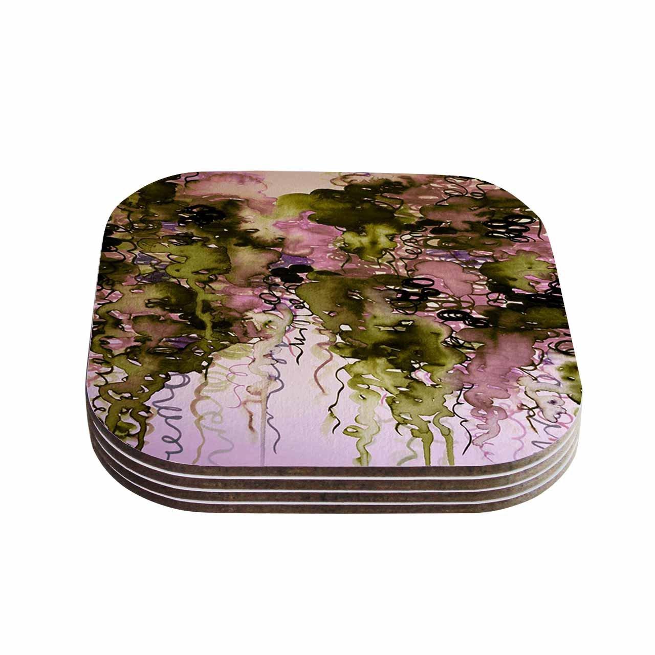 Set of 4 Olive Pink Green Lavender Coasters Multi KESS InHouse Ebi EmporiumBeauty In The Rain 4 x 4