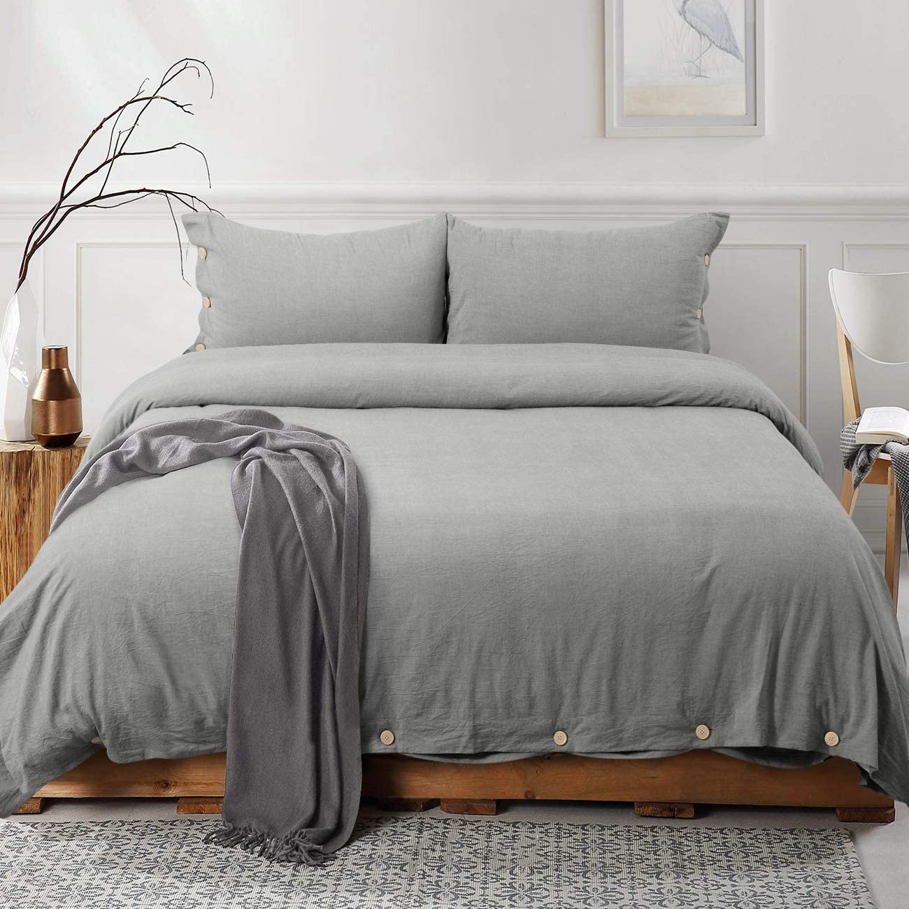 viewstar Grey 100% Washed Cotton Duvet Cover Set,3 Pieces Luxury Soft Bedding Set with Buttons Closure,Breathable,Hypoallergenic,Solid Gray Color Duvet Cover Queen Size(No Comforter)