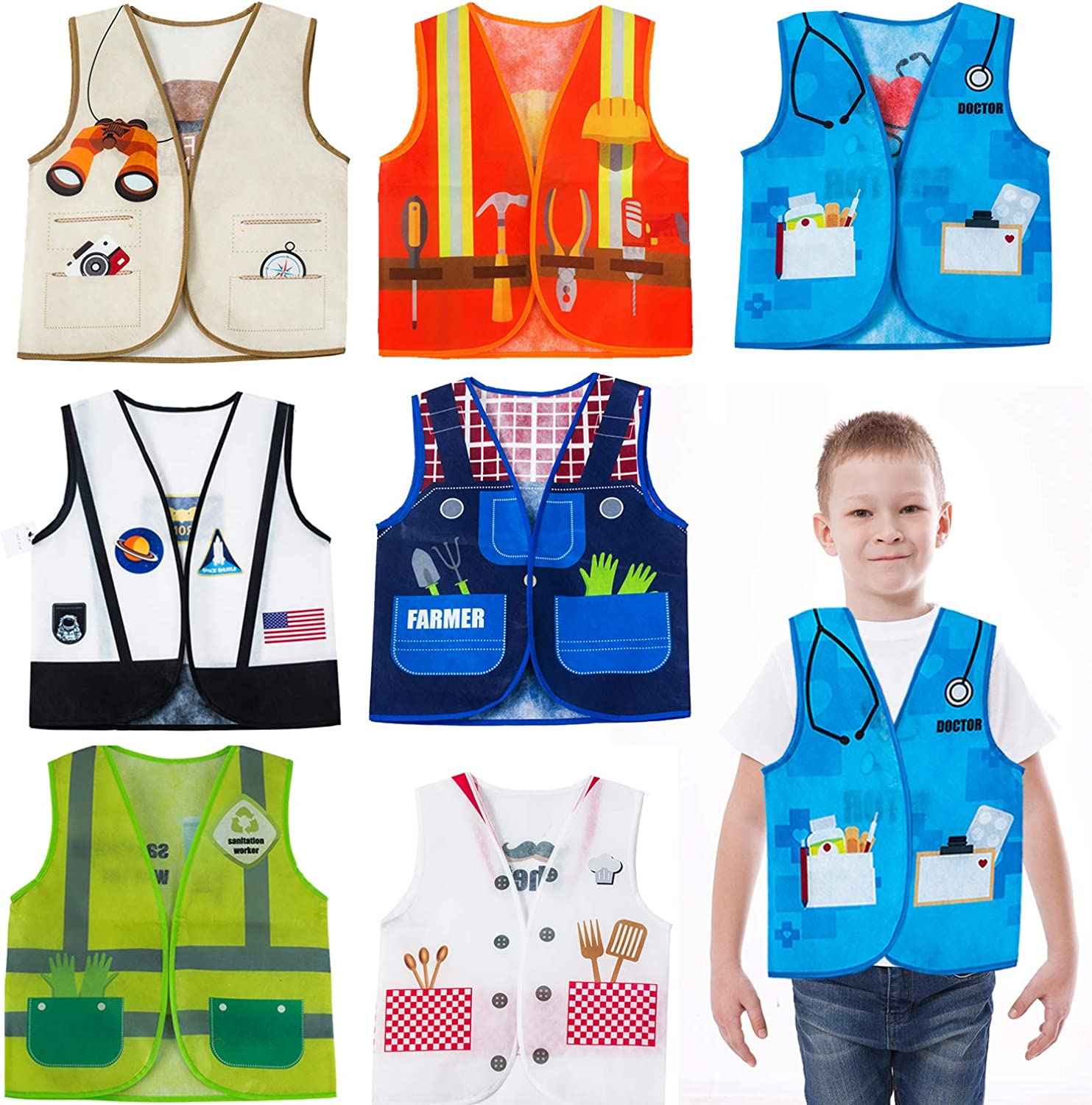 Tigerdoe Dress Up Vest - 7 Pc - Pretend Play School Set - Career Costumes - Kids Role Play Costume - Occupation Costume (7 Pc Career Costumes)