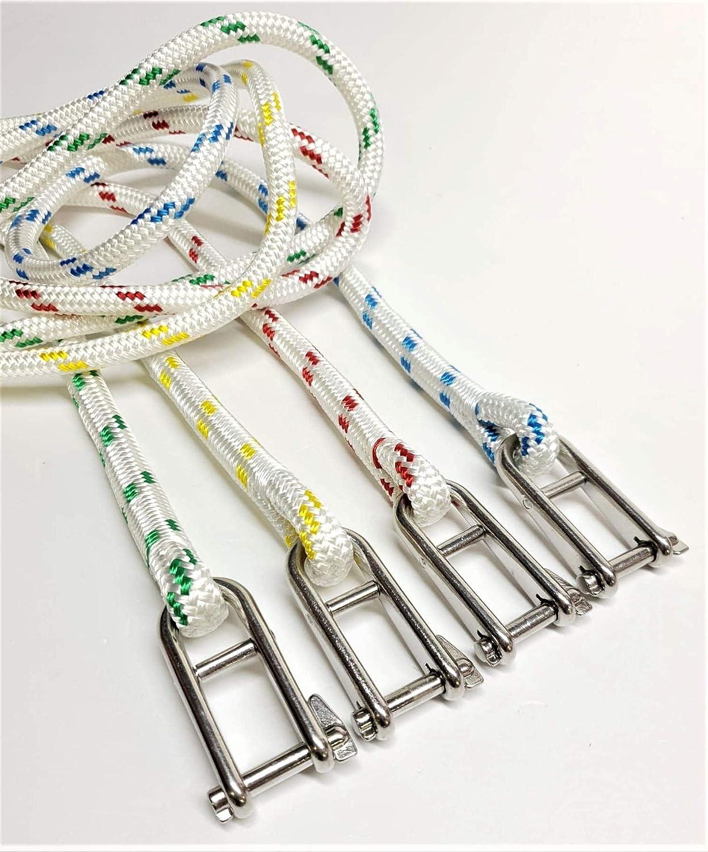 Rota Marine 10mm Polyester Braid on Braid Halyard Key Pin Shackle Spliced Rope