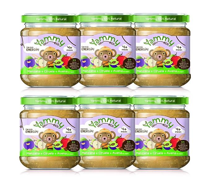 Yammy - Potito Ecológico de Frutas: Manzana+Ciruelas+Avena en Copos Pack 6