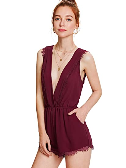 96e7133fc17 Romwe Women s Plunging Deep V Neck Eyelash Lace Sleeveless Trim Wrap Pocket  Short Romper Nightgown at Amazon Women s Clothing store