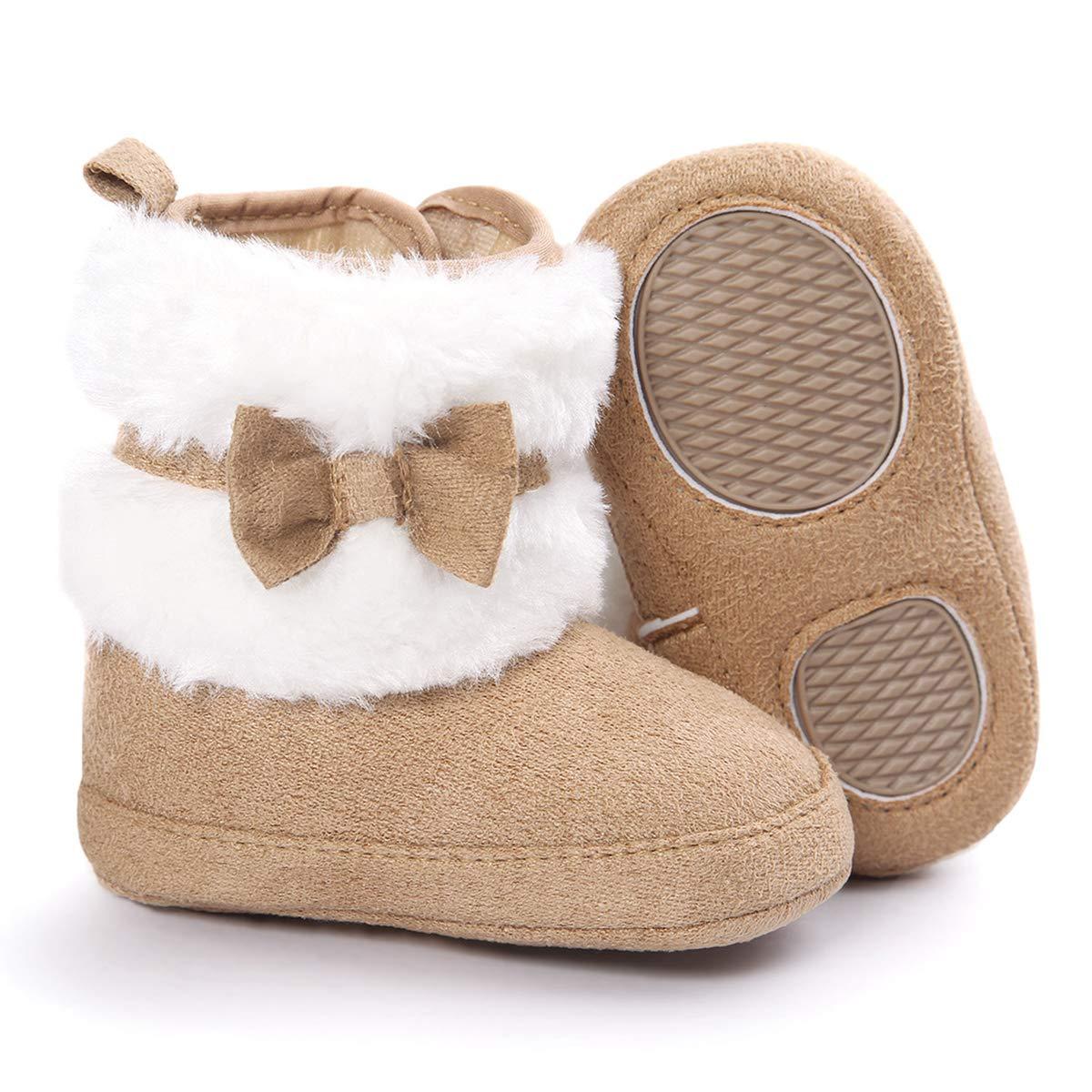 BubleColor Baby Premium Soft Sole Bow Anti-Slip Warm Winter Infant Prewalker Toddler Snow Boots (M:6-12 Months/4.72'', Khaki)