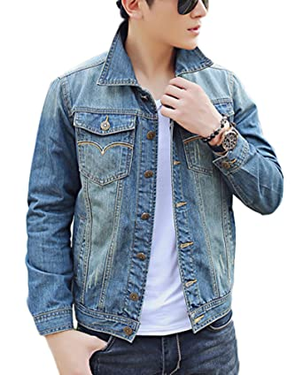 Plaid&Plain Men's Classic Slim Fit Jean Jacket Blue Denim Trucker ...