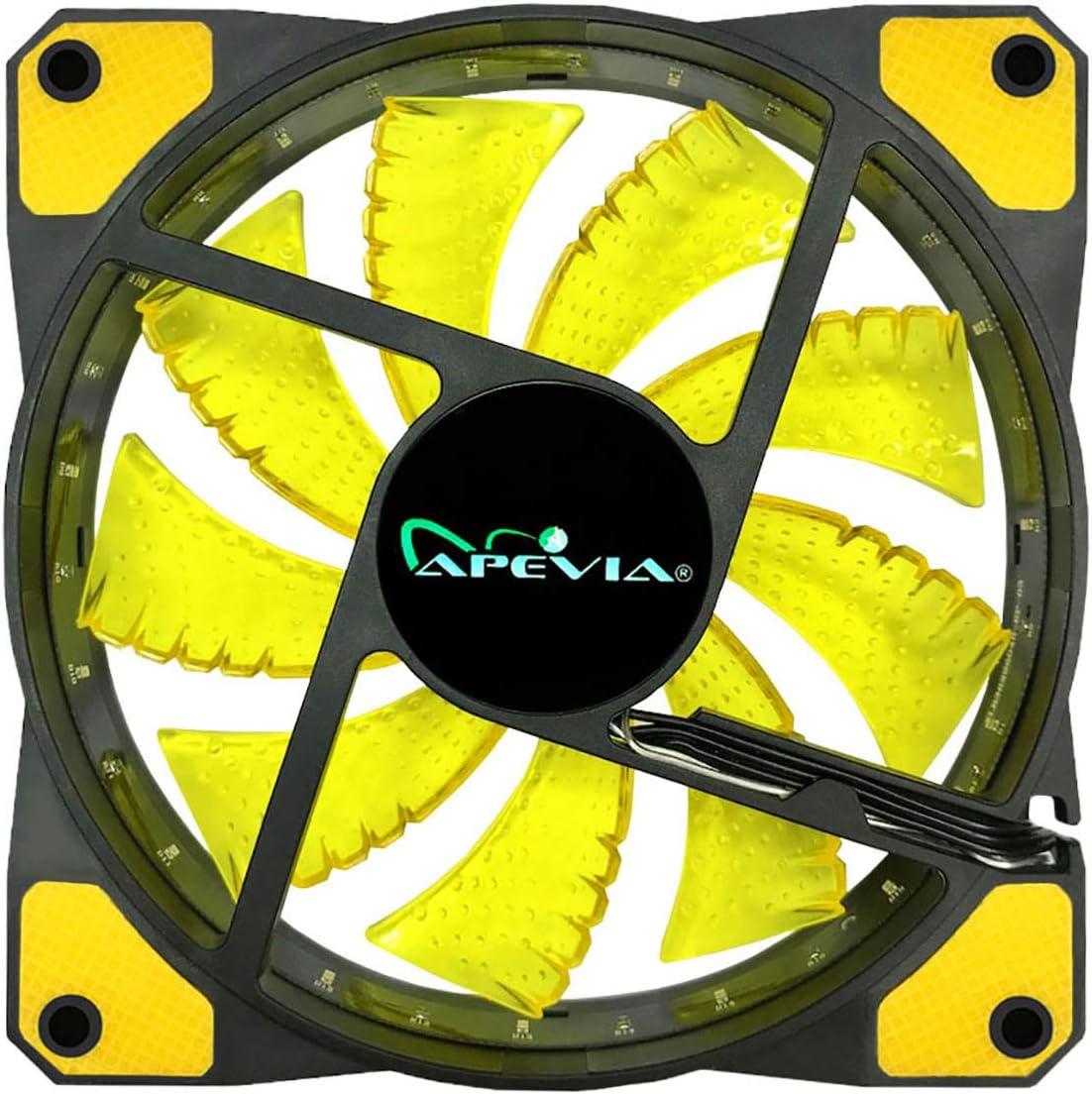 APEVIA 512L-DPP 120mm Silent Black Case Fan with 15 x Purple//Pink LEDs /& 8 x Anti-Vibration Rubber Pads 5 Pk