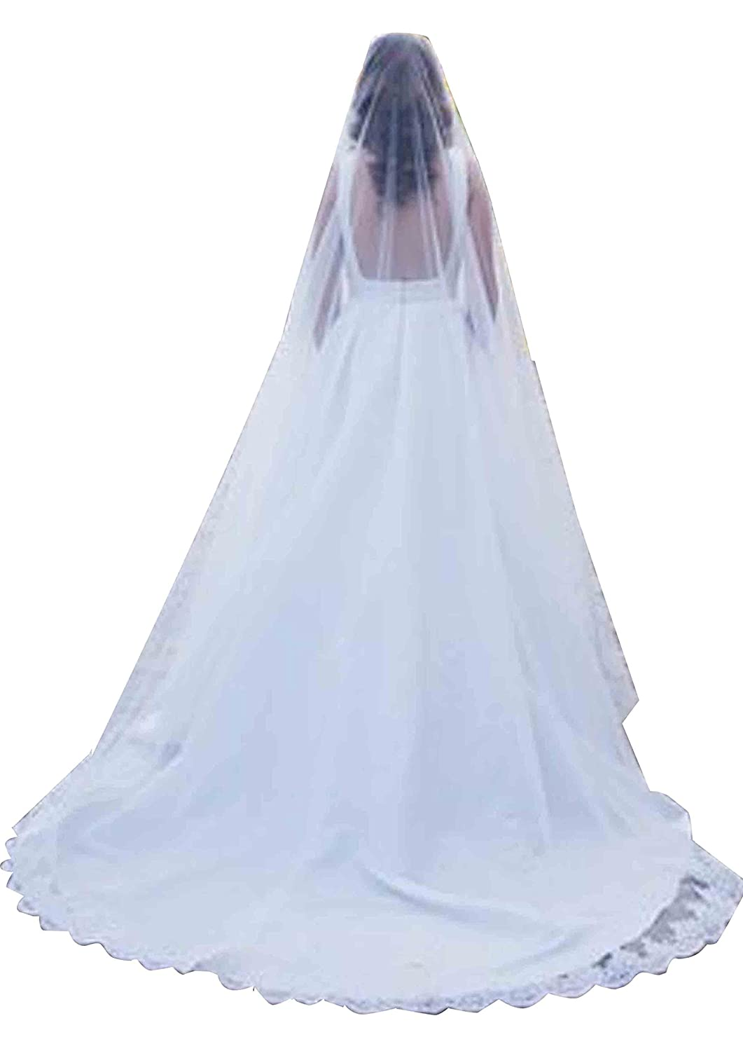 Cathedral Bridal Mantilla Veil Single layer with French lace bridal illusion tulle