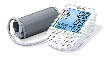 Beurer BM49 - Tensiómetro de brazo con voz, indicador OMS, memoria 2 x 60