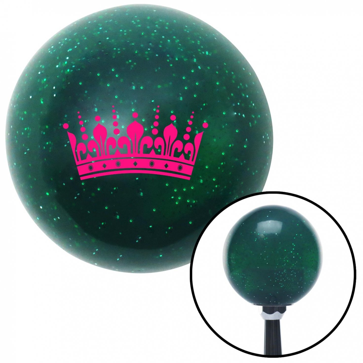 Pink Queens Crown American Shifter 66575 Green Metal Flake Shift Knob with 16mm x 1.5 Insert