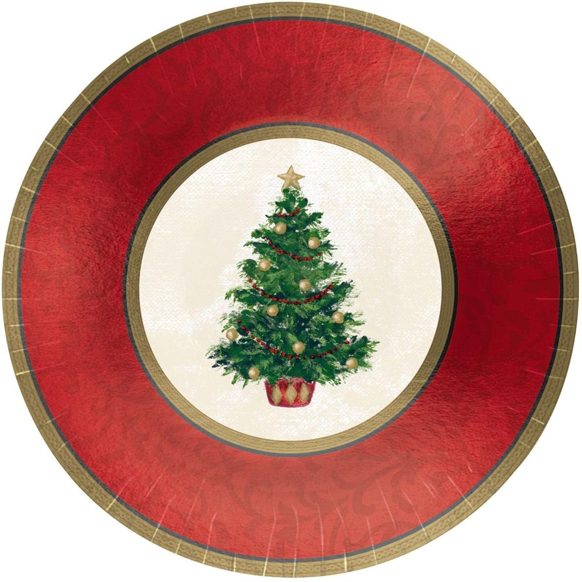 Amscan Classic Christmas Tree Banquet Plates 8ct