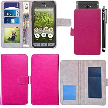 sports shoes 74133 fe612 iTechCover® Pu Leather Wallet Flip Case Cover for Doro 8030-8031 / Hot Pink  Universal 5
