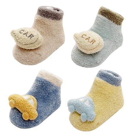LIUCHENGHANG - Pack de 4 Pares de Calcetines Antideslizantes para Bebé Niños Modelo de Coche Anti