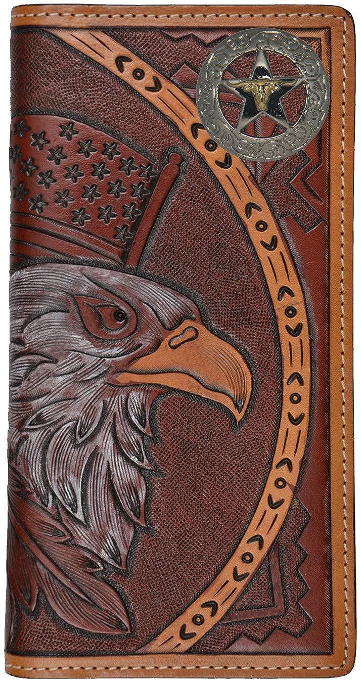 Custom American Spirit Longhorn Star hand-tooled leather wallet