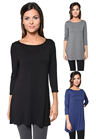 d6b77157e94 Free to Live 3 Pack: Loose Fit Elbow Sleeve Tunics (Black, Charcoal,