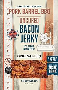 Pork Barrel BBQ Uncured Bacon Jerky, Original BBQ, Award Winning Original Pork Barrel BBQ Sauce, Tangy Flavor, Perfect Smokin Kick, 2 OZ Snack Pack   As Seen on Shark Tank   Nitrate and Nitrite Free