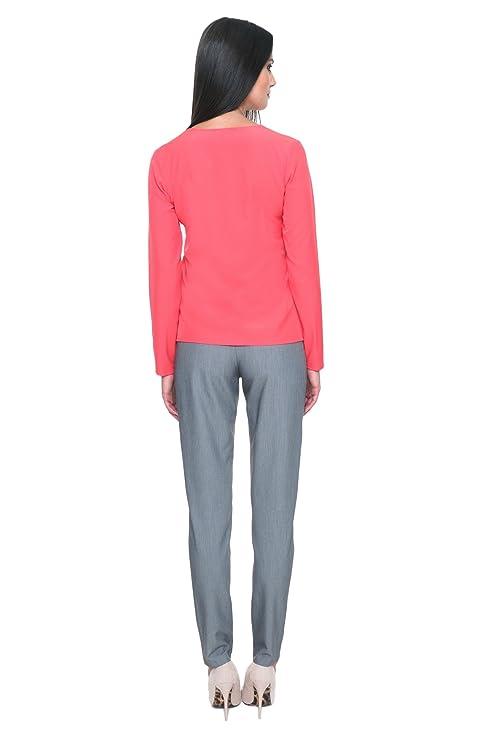 MOS Damas Camisa de Moda Top de la Blusa con Mangas Larga con la Unión Elegante con Clase Para Trabajar en la Oficina de Cuello V Business Casual M008 Hecho ...