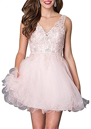ANJURUISI Open Back Short Prom Dress V Neck Appliques Beads Homecoming Party Dresses Blush-UK6