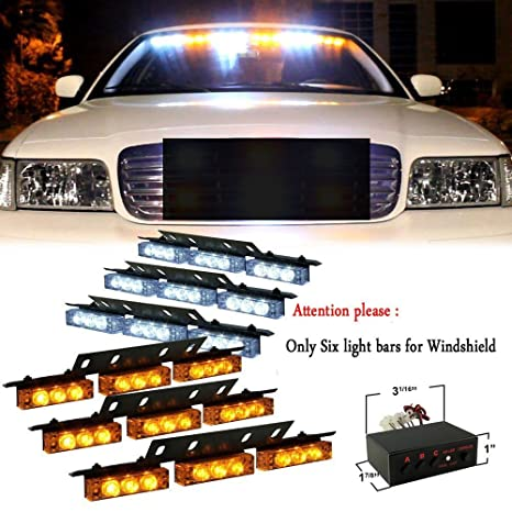 Vehicle Strobe Lights >> 54 X Led Emergency Vehicle Strobe Lights For Front Grille Deck Warning Light 54 Led Amber And White