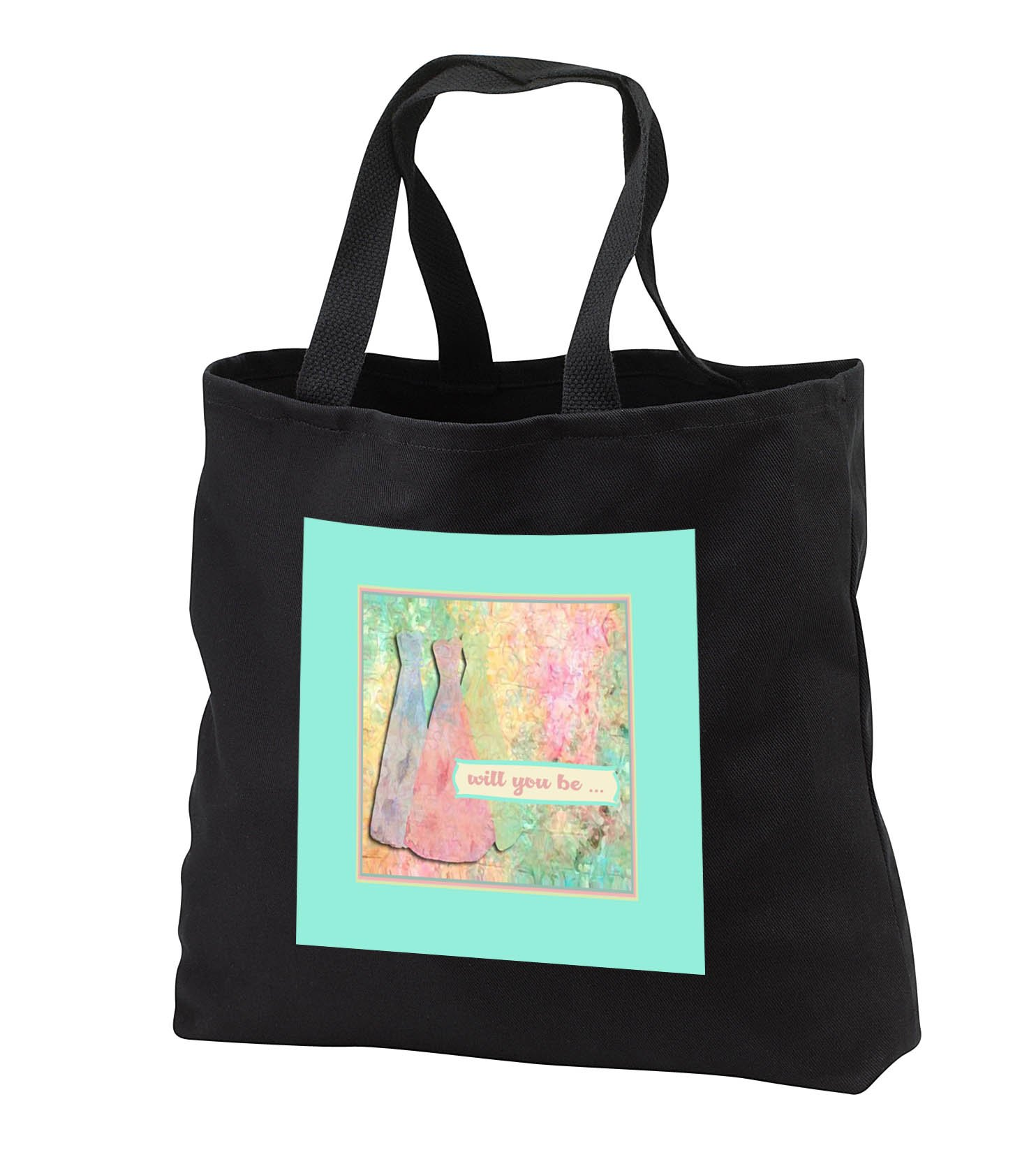 Beverly Turner Wedding Bridal Party Design - Will you be, Blue, Pink, and Yellow Green, Dresses, Abstract - Tote Bags - Black Tote Bag 14w x 14h x 3d (tb_282220_1)