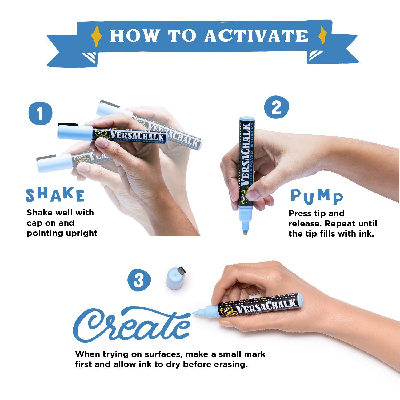 Metallic Liquid Chalk Marker Pens by VersaChalk (6mm Bold Chisel + Bullet Tip) – 8 Metallic Colors | Dust Free, Water-Based, Non-Toxic by VersaChalk (Image #5)