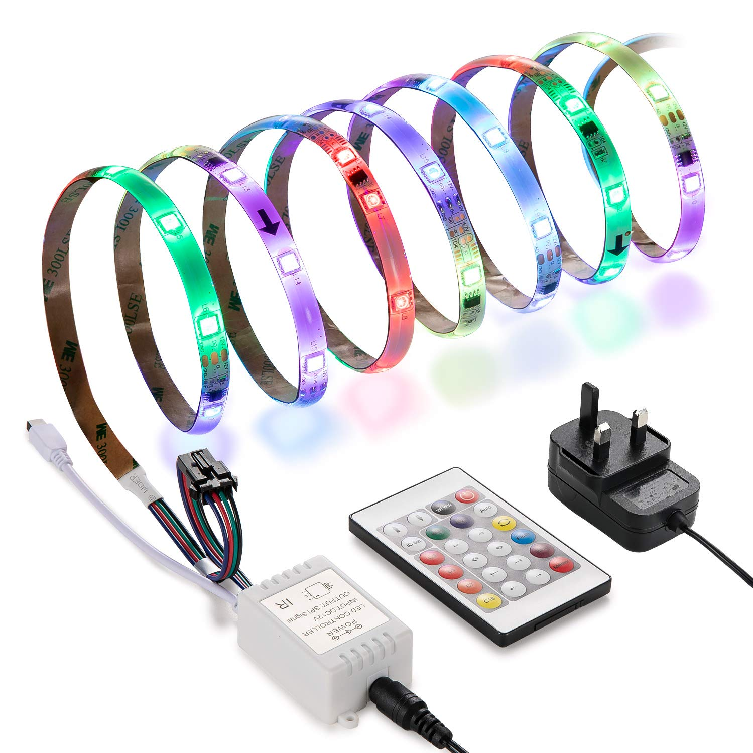 LED RGB Strip Light, Linkind 5m Waterproof Rope Lighting, Color Changing Complete Set with IR Remote Controller & UK Plug, LED Strips Light for Home, Garden bar