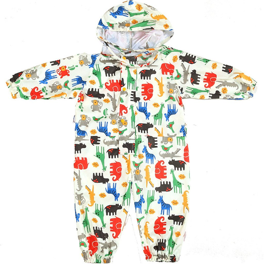 Kids Rainsuit Waterproof Raincoat Jumpsuit Coverall Rainwear All-in-One Suit