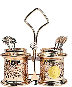 Bin Shihoun-Abomar Hanging Sugar Dispenser with Spoons Set of 15 Pieces - Pure Color, Gold