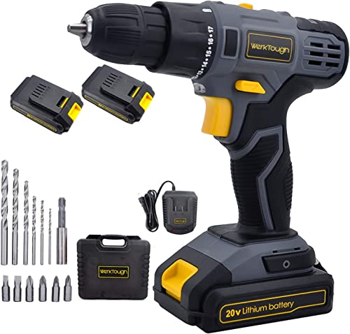 Werktough D023 20V Cordless Drill Driver Powerful Screwdriver 2 2.0Ah Li-ion Battery Platform With Fast Charger