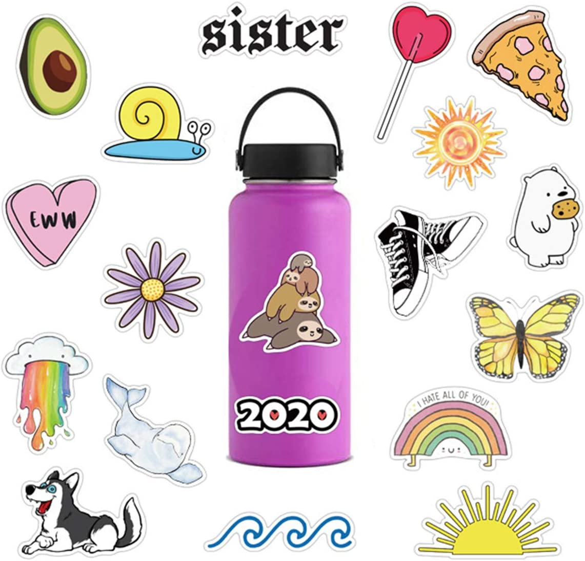 75pcs Fresh Vine Stickers Scrapbook Stickers for Laptops Water Bottles Toys and Gifts Cars Stickers Cartoon Anime Aesthetic Sticker Pack for Teens Girls Women Fresh Vine