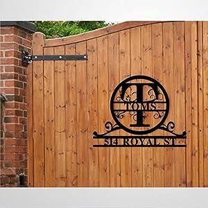 Personalized Name Metal Wall Art Split Monogram Initial Metal Sign Wall Decor Door Hanger Wall Sign for Living Room Bedroom Outdoor