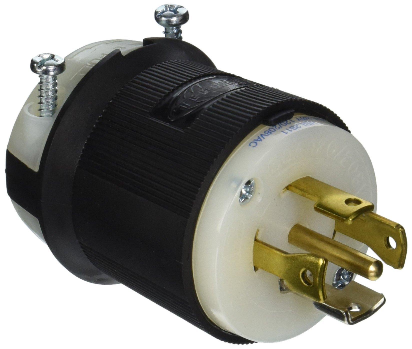 Hubbell HBL2811 Locking Plug, 4 Pole, 5 Wire, 30 amp, 120/208V, L21-30P
