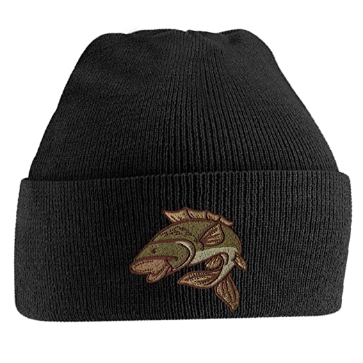 b4c99cbd Amazon.com: Bang Tidy Clothing Fishing Beanie Hat Knit Cap Embroidered Fish  Beanies Hats Gifts for Men - Black: Clothing