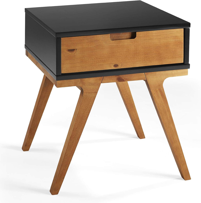 Walker Edison Mid Century Modern 1 Drawer Side Living Room Small End Accent Table, Black/Caramel