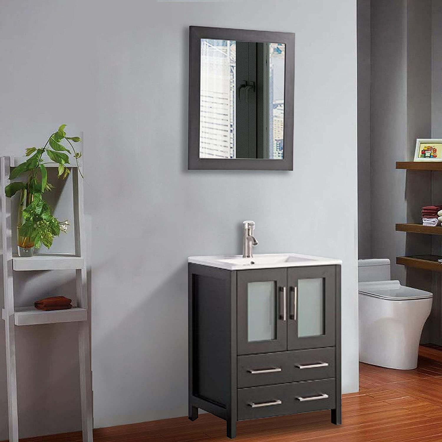 Vanity Art 24 inch Single Sink Bathroom Vanity Compact Set 2 Large Folding Doors 1 Shelf Ceramic Top Bathroom Cabinet with Free Mirror Espresso – VA3024-E