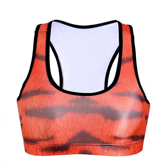 WKAIJCC Mujer Deportes Ropa Interior Sujetador Digital Imprimir Sexy Hermosa Espalda Rápido Sin Rastro Cómodo: Amazon.es: Ropa y accesorios