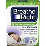 Breathe Right Extra Strength Clear Drug-Free Nasal Strips for Congestion Relief, 26 count