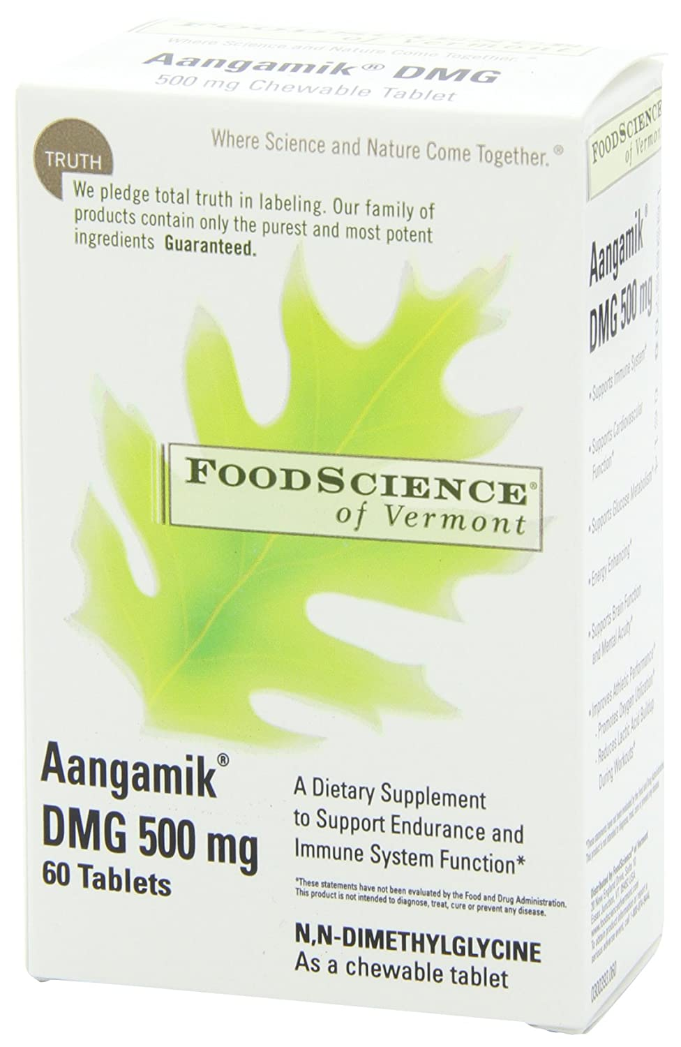 FoodScience of Vermont, DMG Chewables, 500mg Aangamik DMG, 60 Chewable  Tablets