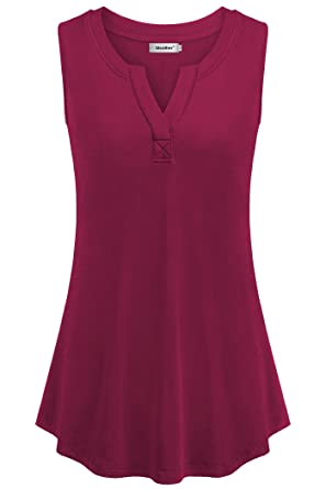 Sixother Henley V Neck Tank Top for Women Sleeveless fit and Flare Summer  Shirts at Amazon Women s Clothing store  f53d7699fac6