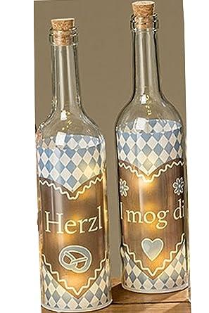Boltze Juego de 2 LED botellas Herzl Azul H 30 cm aprox.