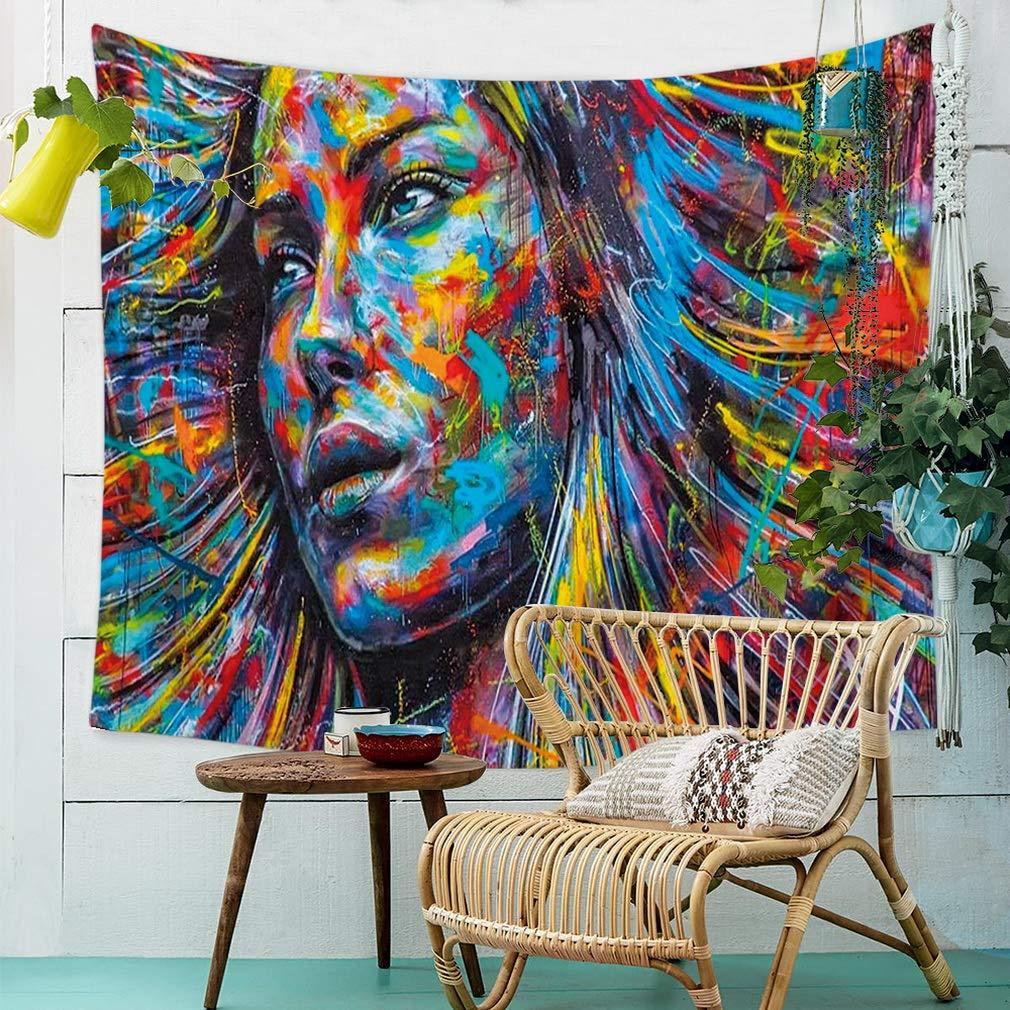 90x75 CM Nunbee Graffiti a Colori Stampare Hippie Arazzo Decorativi Mandala Bohemian Psichedelico Intricato Indiano Copriletto Camera da Letto Casa Dormitorio CG #1-35x29 inch