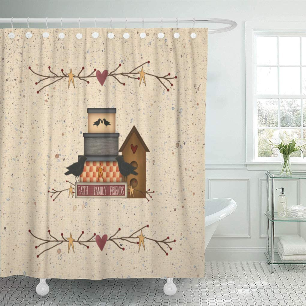 Semtomn Shower Curtain Waterproof Polyester Fabric 72 x 72 inches Heart Primitive Faith Family Friends Country Pip Berry Birdhouse Set with Hooks Decorative Bathroom Curtains