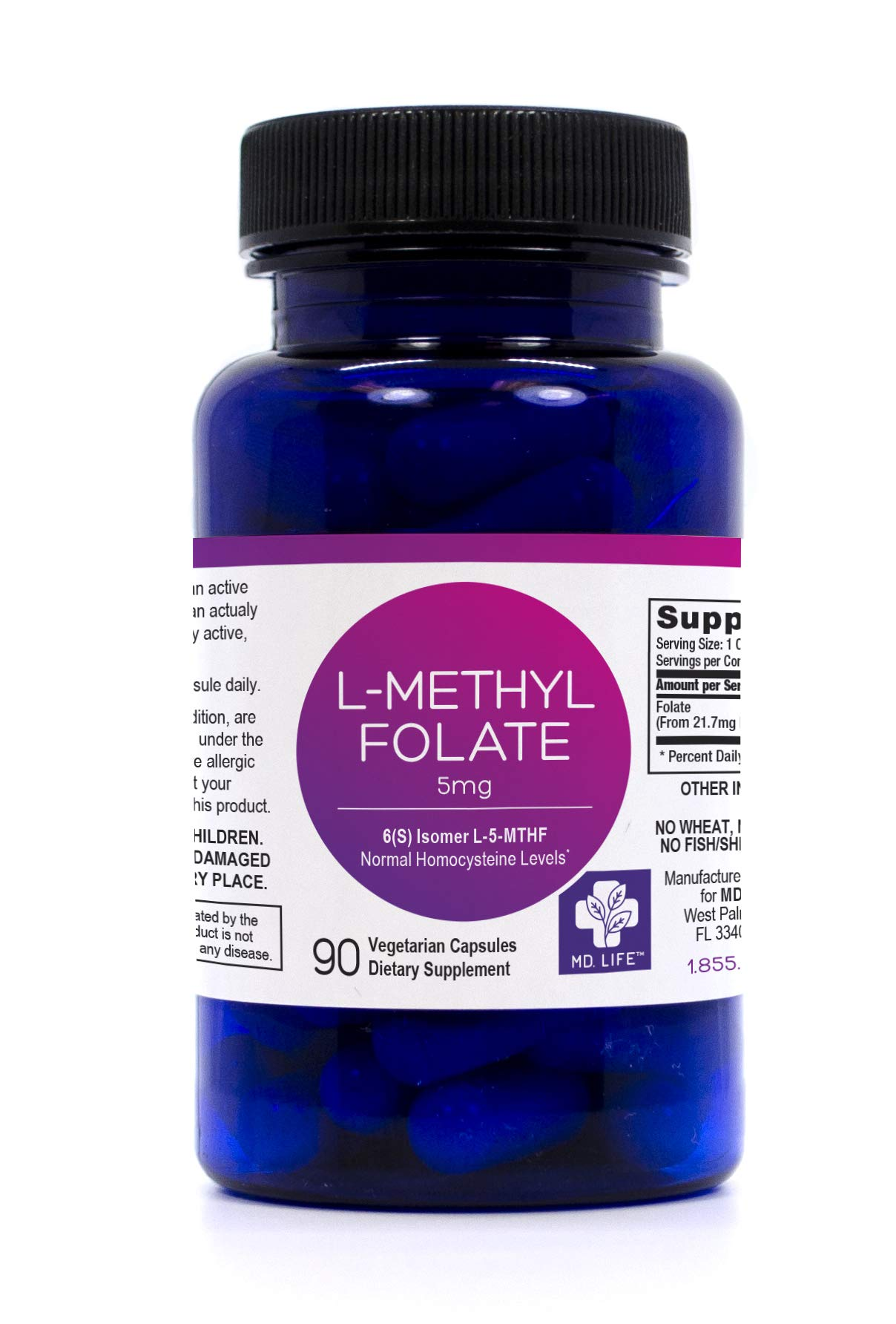 MD.LIFE L-Methylfolate 5 mg Professional Strength Active Folate 90 Caps by MD.LIFE