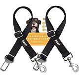 Friends Forever Cat Car Dog Seat Belt, Vehicle Harness Tether Lead, Pet Restraints Connector for Cars, 2-Pack Adjustable Black Nylon