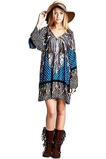 cf21458561c Velzera Women s Off the Shoulder Damask Fringe Tunic Mini Dress Boho ...