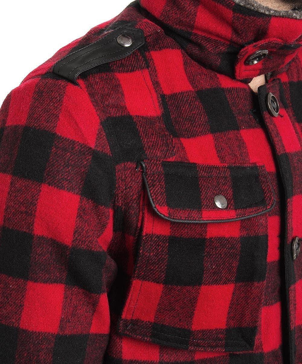 Ringspun, camicia imbottita da uomo, a quadretti, colore rosso e nero
