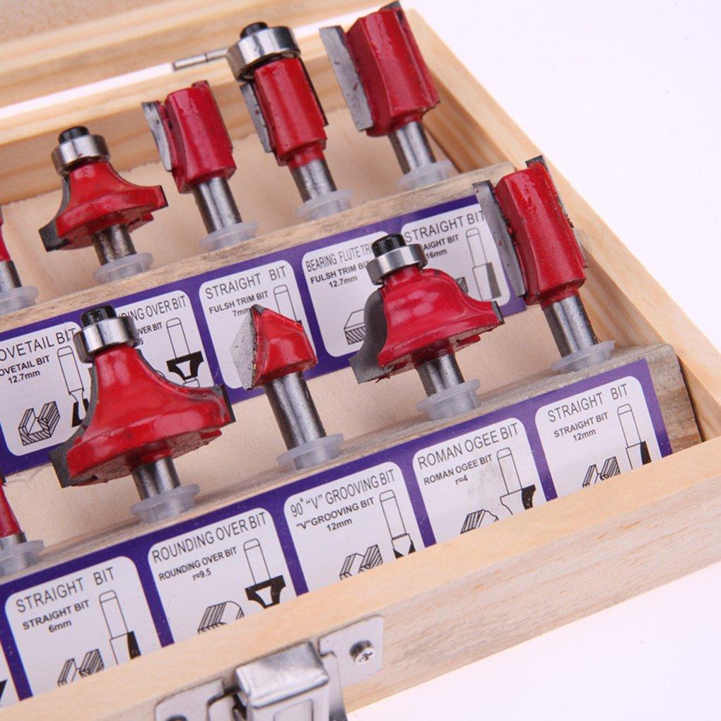 15pcs fresa de ajuste de la m/áquina m/áquina del cortador Set Router Router Bits para el cortador de madera de carburo de ca/ña F/ábricas tradicionales Injertos Herramientas de la carpinter/ía