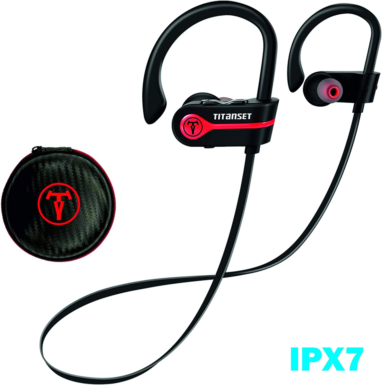 Bluetooth Headphones, TITANSET Wireless Earbuds IPX7 Waterproof Noise Cancelling Headsets, HD Sound&Richer Bass Sports Earphones 9 Hours Playtime Running Headphones with Eva Bag
