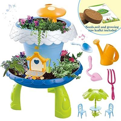 deAO Jardín en Miniatura Mi Cuento de Hadas Casa de Campo Mágica para Muñecas Juego de Botánica Infantil Incluye Semillas, Tierra y Accesorios: Juguetes y juegos