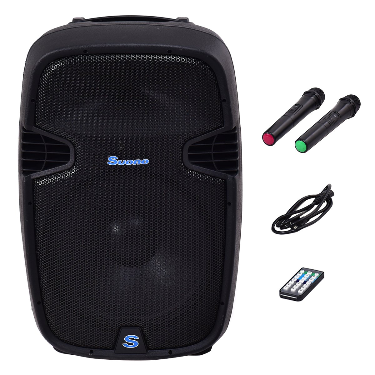 Suono 15'' 1000W Powered Speakers, 2-Way Full Range Portable DJ/PA Speaker System Set With Microphones/ USB/Bluetooth