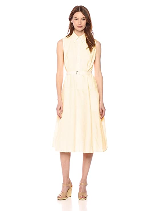 adcce302f8c6aa Donna Morgan Women s Sleeveless Midi-Length Seersucker Shirt Dress at  Amazon Women s Clothing store