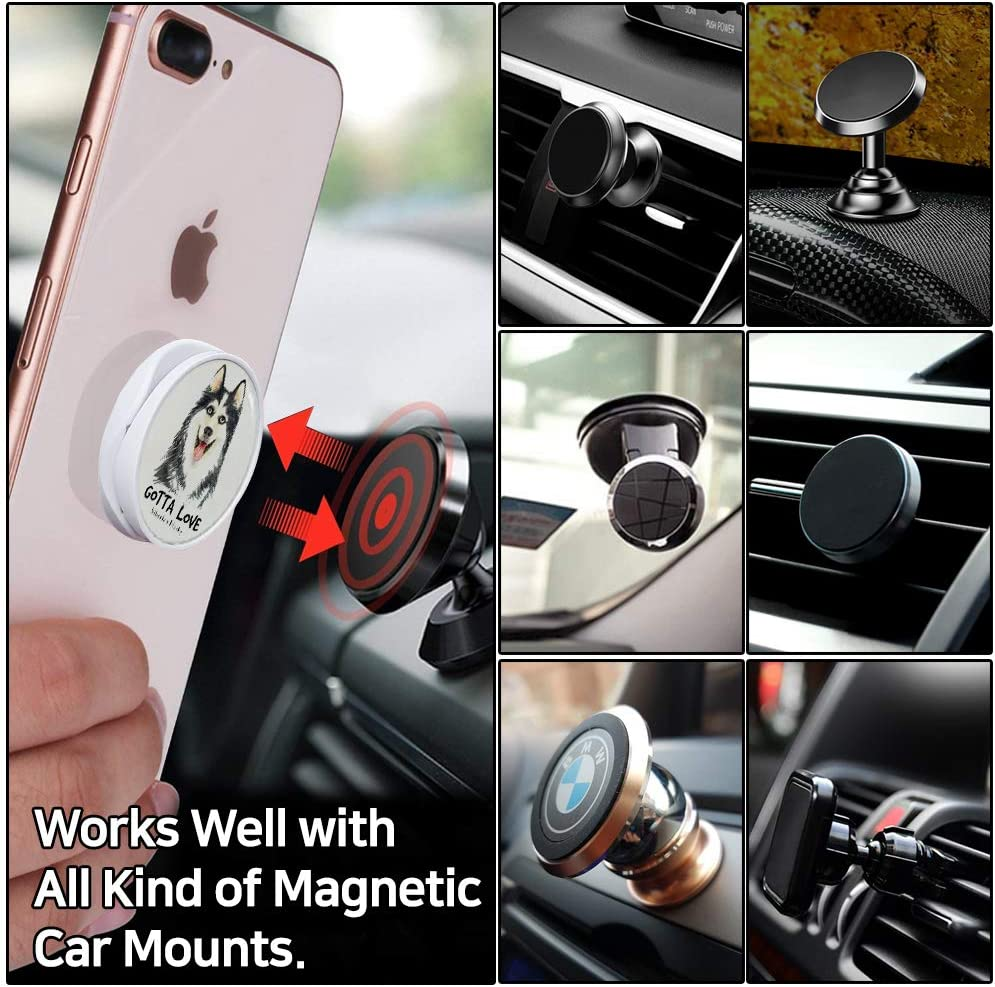 Chihuahua Poppin Grip Rounded Sticker for Glass-Back Phone and Cleaning Kit Collapsible Finger Holder Stand Attachable to Magnetic Car Mount Free 7 Gifts Extra 3M Sticker Magic Band